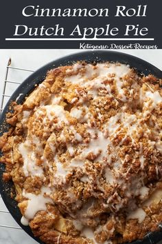 This Cinnamon Roll Dutch Apple Pie is like a cinnamon roll flavor explosion with apple pie filling in between. A cinnamon roll crust on the bottom, a sugary streusel and cinnamon swirl icing on top and delicious baked apple filling in the middle- this pie Apple Pie Recipes, Fall Recipes, Sweet Recipes, Holiday Recipes, Apple Pies, Just Desserts, Delicious Desserts, Dessert Recipes, Yummy Food