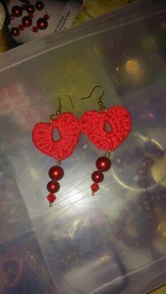 Crocheted red heart earrings