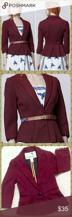 Anthropologie Chandelier Blazer by Tabitha Tabitha's pleated-peplum creation can be used twofold - as an outerwear piece in early fall and as your coziest, wrap-me-up blazer come winter. Button closure.  Size small. Excellent condition. Anthropologie Jackets & Coats Blazers