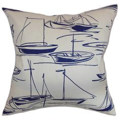 Cotton pillow with sailboat motif. Made in the USA.  Product: PillowConstruction Material: Cotton cover and 95/5...
