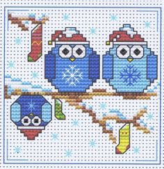 The Twitts (Owls) Christmas Cross Stitch Card Kit - Fat Cat - 14 Count