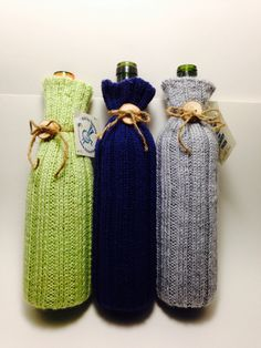 Knitted Wine Bottle Covers with Handmade Wooden Button - Gammy & Bob working together.