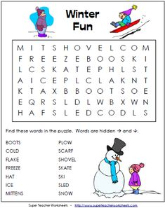 Winter Word Search Puzzle for kids