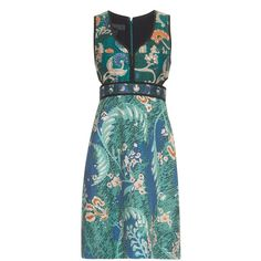 Burberry Prorsum Floral-print cotton and silk-blend dress ($2,875) ❤ liked on Polyvore featuring dresses, burberry, green, green dress, cutout dress, cotton floral dress and green cotton dress