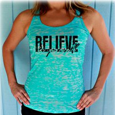 """Gain a little inspiration to workout and stay motivated with the saying printed on this tank top, """"Believe in Yourself"""". These spo Warrior Girl, Workout Tank Tops, Athletic Tank Tops, Athletic Wear, Dresser, Leggings, Workout Clothing, Workout Outfits, My Style"""