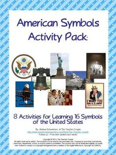 8 activities to teach 16 United States symbols. Bingo, symbols book, cut and paste activity and more. Half price for $3.00 through 5/18.