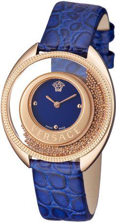 Versace 36mm Destiny Spirit Floating Spheres Watch w/ Calfskin Strap, Blue