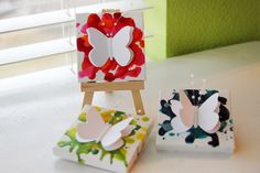 Mini Butterfly Canvases made with crayons!  I'm not a butterfly girl, but love the melted crayon.  Might do this with a monogram letter or something...