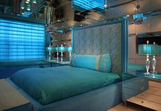 Elegant Blue Bedroom Interior Design by Brown's Interior, Boca Raton