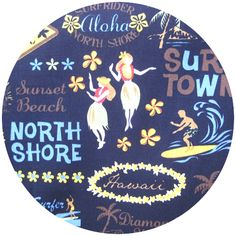 Good fabric to cover a cork board or photo board! Kawaii from Hawaii, Surf Town Black