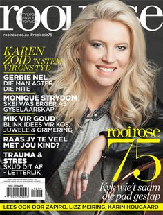 17 March 2017 — the best magazine covers this week — rooi rose, April birthday issue with Karen Zoid. Magazine Design, Cool Magazine, Magazine Covers, Identity, Beautiful Cover, Media Design, Digital, Rose, 75th Birthday