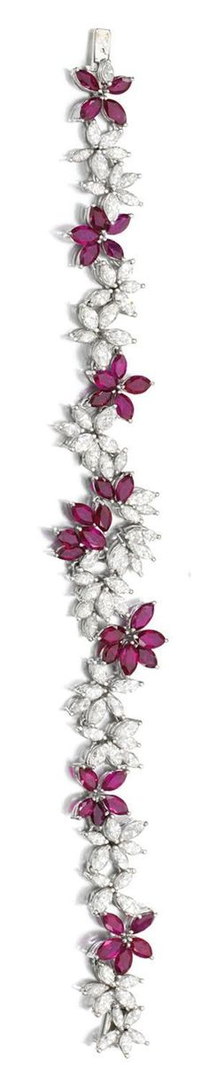 Best Diamond Bracelets  : RUBY AND DIAMOND DEMI-PARURE Comprising: a necklace and bracelet each set with m