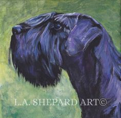 """A Schnauzer dog art portrait print of an LA Shepard painting 12x12"""". Here's a wonderful tribute to your best friend and favorite breed- the Schnauzer! from an original painting by L.A.Shepard, whose unique, beautiful work has been collected around the world. Your print will be individually signed under the image by the artist, and initialed on the image. Copyright text is for display purposes only and will not appear on your artwork. The image is 12x12 inches and is printed on 13x19"""" 100%..."""