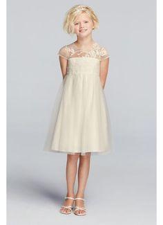 Mesh Flower Girl Dress with Illusion Neckline WG1360