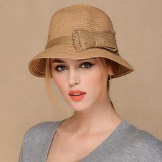 Bow straw bucket hat for women package sun hats beach wear