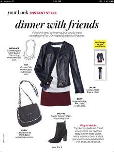 Leather jacket and burgundy skirt // Instyle Magazine