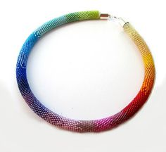 Statement Necklace Bead Crochet Necklace Rainbow by StudioGianna