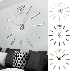 DIY 3D Roman Numbers Watch Wall Clock Home Decor Mirror Wall Sticker 3 Colors #Unbranded