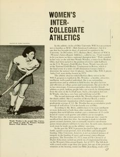"The Ohio University Alumnus Magazine, March 1974. ""Women's Intercollegiate Athletics."" Ohio University student was named to the U.S. Women's Field Hockey Team in 1973. :: Ohio University Archives"