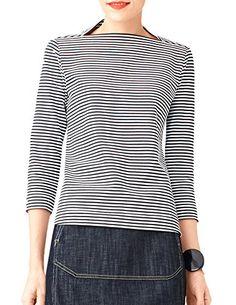 Kate Spade Saturday Women's Skinny Striped Slip Neck 3/4 Sleeve Top, Black / White (X-Small) kate spade new york http://www.amazon.com/dp/B00SJY5SBK/ref=cm_sw_r_pi_dp_0EaWub1YE0FR0