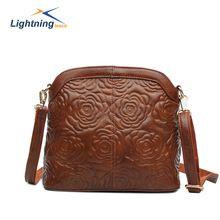 2015 Embossing Genuine leather bags for women flower women messenger bag shell brand bag bolsa feminina cross body bag SL163F(China (Mainland))