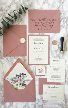This Dusty Pink and Dark Green Wedding Invitation is sure to impress your guests with the floral envelope liner and contrasting green envelopes. This invitation is available in more than 130 colors and customizable to your liking!