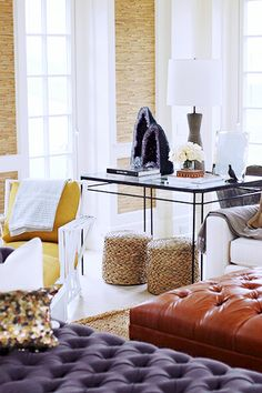 The Décor Trend That Will Rock Your World// tufted leather ottoman, seagrass stools, amethyst