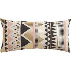 Pillows - janey  pillow I CB2 - pink black gray white and gold pillow, pink black and gold geometric pillow, pink black and gold foil pillow,