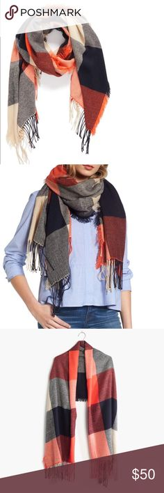 Madewell Checkerboard Scarf Beautiful Madewell shades of Fall Checkerboard Scarf Can be used as a scarf, sarong or blanket wrap as well. New with Tags. Perfect shades of navy, gold, orange and rust.  Gorgeous with a pair of skinny jeans and boots! NWT. Never worn. Madewell Accessories Scarves & Wraps