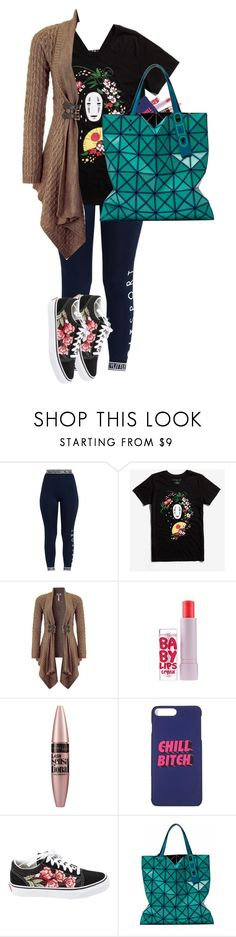 """""""Untitled #2457"""" by purplicious ❤ liked on Polyvore featuring Pretty Little Thing, Studio Ghibli, Lipsy, Maybelline, Vans and Lucent"""