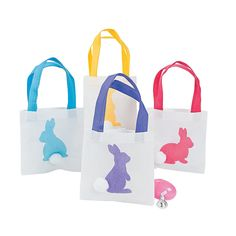 Easter Bunny Silhouette Tote Bags - OrientalTrading.com Make own with colored bags and white bunnies