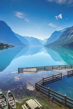 Lake Lovatnet in the Lodal valley in Norway
