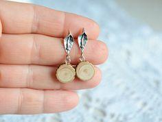Minimalist wooden earrings dangle sterling silver by MyPieceOfWood