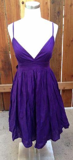PRETTY Purple TOP SHOP Size 8 SMALL Cotton Sun Dress
