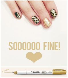 The other day we stumbled on an even better nail art tool– a water-based, super-fine metallic sharpie in GOLD! Sometimes it's hard to get those teeeeeny tiny lines like a legit nail artist can, but we test drove this pen and we're officially in nail art heaven. We're currently obsessed with fine-line pattern nail art and can't get enough of these pens for that reason.