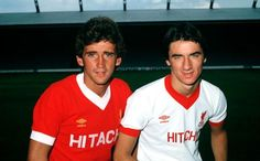 ♠ The History of Liverpool FC in pictures - Richard Money and Ian Rush in 1980 Hitachi kit #LFC #History #Legends