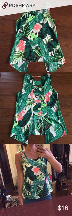 Cage Back Floral Tank Gorgeous!  Worn once, excellent condition.  Longer in the front, ladder cage detail in the back.  Feminine and edgy!  Summer staple! Express Tops Tank Tops