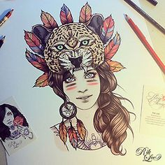 Illustration art girls wolf tattoo feathers leopard spirit hood traditional rik lee animal hood