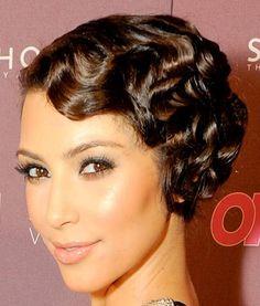 celebrity hair trends - love this finger wave on Kim K!  Boohoo.com