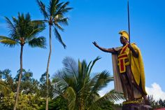 Statue of King Kamehameha in Hilo on the Big Island of Hawaii. Click on the link below for more on Hawaii.
