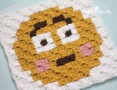 Embarrassed Emoji Afghan Square Free Crochet Pattern from Repeat Crafter Me