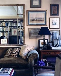 Habitually Chic® Love that the books are reflected in the mirror...