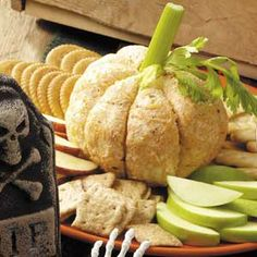 cheese ball with celery. great for a fall party and looks so pretty.