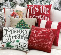 Christmas Pillows - DIY painted/stenciled canvas | Pottery Barn