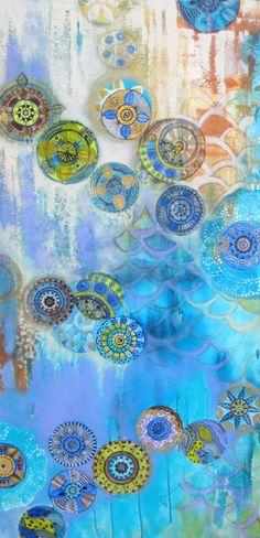 "ORIGINAL painting CHAKRAS -20""x36"" blue purple ivory mixed media circles painting"