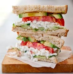 Cottage cheese, avocado and tomato sandwich