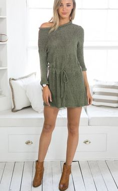 Knit Mini Dress Pullover with Belt Cute Short Dresses, Nice Dresses, Boho Dress, Dress Skirt, Green Sweater Dress, Online Fashion Boutique, Casual Tops, Dresses Online, Fashion Beauty