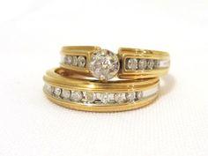 Vintage 14K Solid Yellow Gold Wedding Ring Set by wandajewelry2013, $655.00