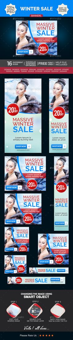 Winter Sale Banners - Banners & Ads Web Template PSD. Download here: http://graphicriver.net/item/winter-sale-banners/9411559?s_rank=1307&ref=yinkira