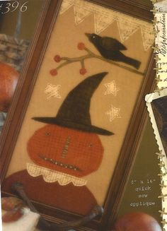Primitive Folk Art Applique and Punchneedle Pattern:    AUTUMN GATHERING    3 projects. $17.00, via Etsy.